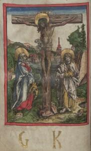 Kanonbild (Kreuzigung) und Monogramm G(eorg) K(arstner), Passauer Missale Druck Wien, 1503. Bild: ÖNB