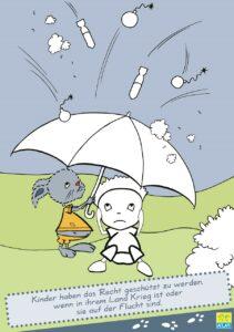 """Ausmalbild aus dem Malbuch der KiJA """"Alle Kinder auf der ganzen Welt haben die gleichen Rechte"""" - Illustration: Sarah Seidel/KiJA OÖ"""