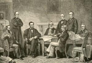 Ein Gemälde hält die Geschichte lebendig: die Proklamation, also die Verkündigung der Sklavenbefreiung durch Präsident Abraham Lincoln (dritter von links) vom 22. September 1862. Drei Jahre später, am 18. Dezember 1865, wurde das Verbot der Sklaverei als 13. Zusatz in der US-Verfassung verankert.
