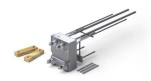 Der Schöck Isokorb Typ KS ist ein tragendes Wärmedämmelement für den Anschluss von frei auskragenden Stahlträgern an Stahlbetonbauteilen. Foto: Schöck Bauteile GmbH