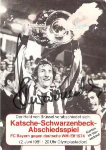 Autogrammkarte anlässlich seines Abschieds-Spiels 1981. Sammlung: oepb