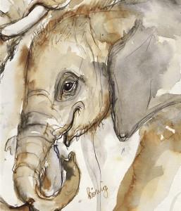 Gemälde Elefant Tuluba von Margit König