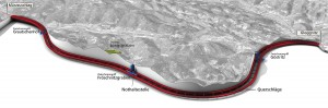 Blick auf den 27 Kilometer langen Semmeringbasistunnel. Bild: ÖBB/Visualisierung Kommerz