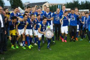 Von 2011 bis 2013 bereits einmal in der zweithöchsten Spielklasse aktiv und nach dreijähriger Abwesenheit dort wieder zurück: der FC Blau Weiß Linz sicherte sich in einer grandiosen Spielzeit 2015/16 bereits vorzeitig den Meistertitel in der Regionalliga Mitte. Foto: www.skv-neverforget.at