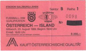Matchkarte vom 23. August 1989. Sammlung: oepb