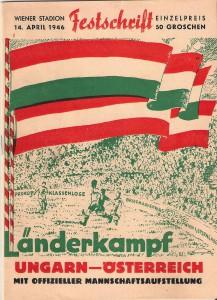 Offizielles ÖFB-Matchprogramm von 1946. Sammlung: oepb
