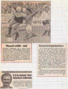 Faksimile Neue Kronen Zeitung und KURIER, jeweils vom 10. Juni 1989. Island und Österreich trennen sich 0 : 0.