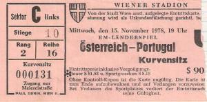 Matchkarte vom 15. November 1978. Sammlung: oepb
