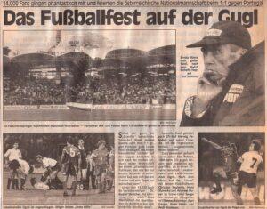 Faksimile KURIER vom 3. September 1992. Österreich und Portugal trennten sich in Linz 1 : 1.