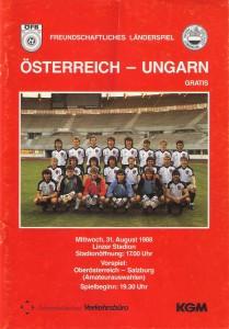 Offizielles ÖFB-Matchprogramm von 1988. Sammlung: oepb