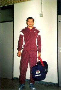 József Kiprich, ungarischer Stürmerstar Mitte der 1980er Jahre. Hier am 30. August 1988 vor dem Länderspiel in Linz. Foto: oepb