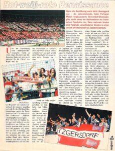 Faksimile FAN POST Nr. 7 / November 1995. Österreich und Portugal trennten sich in Wien 1 : 1. Die erste Choreografie einer österreichischen Fan-Kurve wurde an jenem Abend praktiziert.