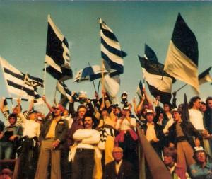 Drei Fan-Busse - damals war das eine ganze Menge - brachten die SK VÖEST-Fans im September 1978 ins Wiener Prater Stadion zum Auswärtsspiel gegen die Vienna. Foto: oepb