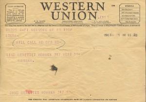 Telegramm Hannah Arendt an Günther Anders, New York, Mai 1941. Foto: Nachlass Günther Anders, Literaturarchiv der Österreichischen Nationalbibliothek, Wien