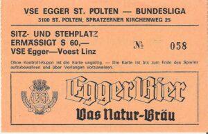 Eintrittskarte einer Bundesliga-Begegnung im Mittleren-Play-Off am Samstag, 30. April 1988 am Voith-Platz. Der VSE St. Pölten schlägt den SK VÖEST Linz mit 3 : 0. Sammlung: oepb