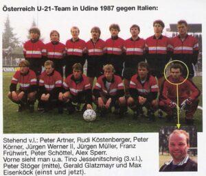 Faksimile: Max Eisenköck (hockend ganz rechts) erfolgreich mit der Unter21-Nationalmannschaft des ÖFB.