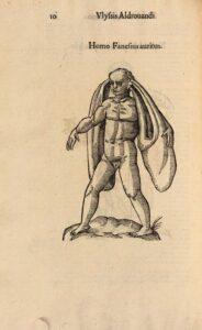 Mensch mit übergroßen Ohren aus einem historischen Werk über Missbildungen: Ulisse Aldrovandi, 1642. Foto: Österreichische Nationalbibliothek