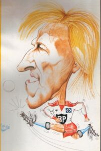 Eine Horst Hrubesch-Karikatur im HSV-Dress der Saison 1980/81. Sammlung: oepb