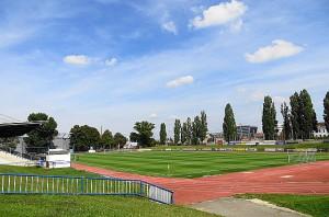 Das, was früher zahlreiche Sportplätze in Wien hatten, gibt es heute noch in Stadlau - eine abschüssige Wiese, die als Stehplatzrampe dient. Herrlich, frohlocken dazu die Nostalgiker. Foto: oepb