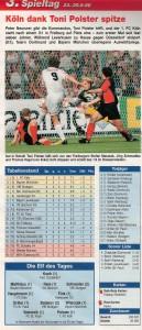 3. Spieltag der Saison 1996/97: Der 1. FC Köln stand letztmals an der Spitze der 1. Deutschen Bundesliga. Bild-Faksimile: kicker Sonderheft Finale 96/97