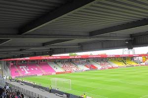 Blick auf die von 1982 bis 2016 existente Nord-Tribüne im Horr-Stadion, der GENERALI-Arena. Foto: oepb