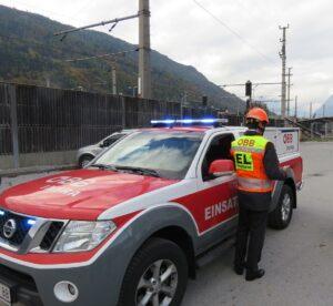 Ein Einsatzleiterfahrzeug in Bischofshofen. Foto: ÖBB / Promegger