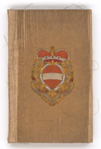 Der schwer beschädigte Prachtband zu Maria Theresias Regierungsantritt. Foto: Österreichische Nationalbibliothek