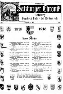 """Titelblatt der Festschrift zum Jubiläum """"Salzburg Hundert Jahre bei Österreich"""" der """"Salzburger Chronik"""" vom 1. Mai 1916. Bild: ANNO/Österreichische Nationalbibliothek"""