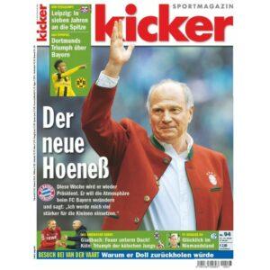 Die aktuelle Ausgabe des kicker / Nr. 94 vom 21. 11. 2016 widmet dem Uli Hoeneß-Comeback eine mehrseitige Story. Foto: oepb