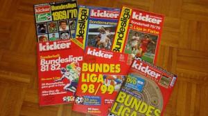 Auch die kicker Sonderhefte aus dem Nürnberger Olympia-Verlag - hier im Wandel der Zeit - erfreuen sich steigender Beliebtheit. Foto: oepb