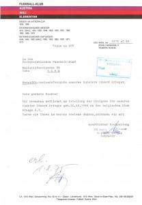 Austria-Sekretär Norbert Lopper bittet den ÖFB um Auslands-Freigabe für Edi Krieger 1975 ins belgische Brügge. Sammlung: oepb