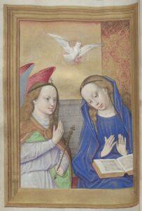 Verkündigung des Engels an Maria, Stundenbuch (lat.), Gent-Brügger Schule, Anfang 16. Jh. Foto: ÖNB