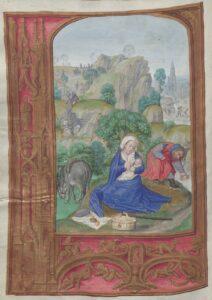 Ruhe auf der Flucht, Gebetbuch Jakobs IV. von Schottland (1473  1513) (lat.), Flandern, Gent-Brügger Schule (Gerard Horenbout, Maximilians-Meister), zwischen 1503 und 1519. Foto: ÖNB