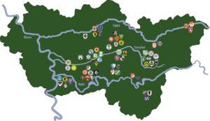 """Blick auf die Fußballregion Ruhrgebiet mit seiner einzigartigen Anhäufung von zahlreichen Traditions-Vereinen. Etwa 5 Millionen Menschen leben hier auf 4.435 Quadratkilometern, somit ist das """"Revier"""" der größte Ballungsraum Deutschlands. Foto: Die Karte stammt aus dem Werk """"Im Land der 1000 Derbys"""""""