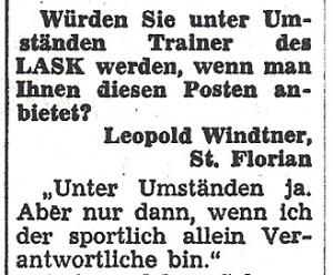 Faksimile OÖ-Kronen-Zeitung/November 1969. Der Fragen-Steller an Alfred Günthner Leopold Windtner ist heute ÖFB-Präsident. Sammlung: oepb