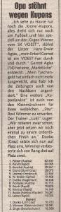 Der aktuelle Wertungsstand gehörte zur täglichen Pflichtlektüre. Faksimile Kronen Zeitung 15. Feber 1985