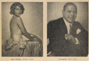 "Betja Milskaja und Hermann Leopoldi aus ""Das Organ der Varieté Welt"" vom 25. Jänner 1930. Foto: Mandelbaumverlag"