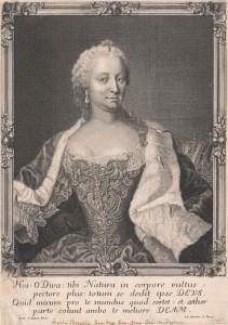 Maria Theresia, Kupferstich von Leopold Schmittner nach Gemälde von Martin van Meytens, nach 1745. Foto: Österreichische Nationalbibliothek