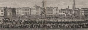 """Erbhuldigung """"Der Zug von Hof nach St. Stephans Thomkirchen"""", Kupferstich von Georg Christoph Kriegl, 1740. Foto: Österreichische Nationalbibliothek"""