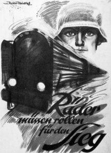 """Postkarte """"Die Räder müssen rollen für den Sieg"""" - so die NS-Propaganda während der Kriegsjahre. Bild: Privatsammlung Alfred Klein-Wisenberg"""