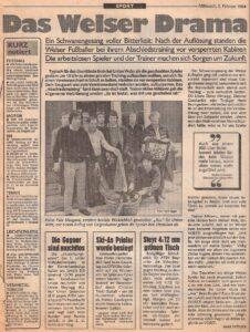 Die Welser Kicker waren urplötzlich und über Nacht Geschichte. Faksimile OÖ-Kronen Zeitung vom 1. Februar 1984