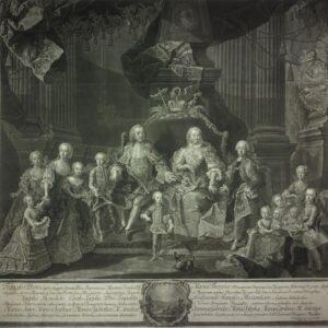 Maria Theresia im Familienkreis, Mezzotinto von Johann Gottfried Haid nach Gemälde von Martin van Meytens, 1760. Foto: Österreichische Nationalbibliothek