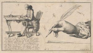 Abbildung der richtigen Sitz- und Schreibhaltung, Anleitung zum Schönschreiben nach Regeln und Mustern, 1775. Foto: Österreichische Nationalbibliothek