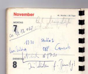 Ausschnitt aus einem Terminkalender von Trude Marzik vom 7. November 1977, anlässlich eines Termins mit ihrem Entdecker, dem legendären ORF-Entertainer Heinz Conrads. Foto: Österreichische Nationalbibliothek