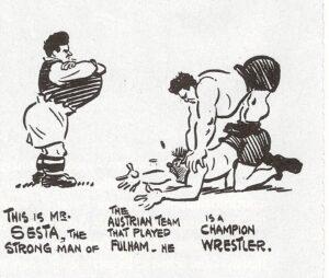 Eine britische Zeitungs-Karikatur über Karl Sesta vor dem Länderspiel England gegen Österreich, 1932 in London. Sammlung: oepb