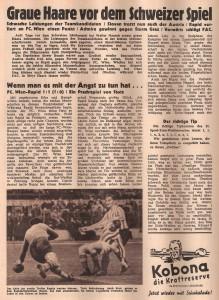 """Faksimile: FC Wien versus RAPID (1 : 1) - """"Ein Prachtspiel von Stotz"""" titelte die SPORT SCHAU vom 14. März 1950. Sammlung: oepb"""