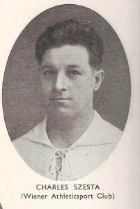 Karl Sesta, abgebildet im offiziellen Match-Programm zwischen England und Österreich, 1932 in London. Sammlung: oepb