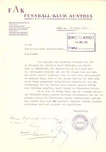 Der FK Austria Wien bittet den ÖFB im Rahmen eines Briefes vom 13. Juli 1954 um Auslandsfreigabe für Ernst Stojaspal. Dem Antrag wird stattgegeben. Sammlung: oepb