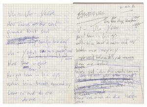 Falco (Johann Hölzel), Handschriftlicher Textentwurf, 1986. Foto: Falco Privatstiftung