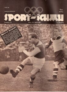 """Faksimile SPORT SCHAU vom 10. April 1951: """"Ernstl Stojaspal kann auch mit dem rechten Fuß schießen!"""" wusste man auf der Titelseite zu berichten. Sammlung: oepb"""